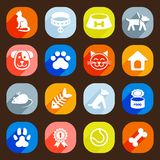 Trendy Flat dog and cat icons. Vector elements Stock Photography