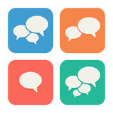 Trendy Flat Icons With Speech Bubbles. Set Royalty Free Stock Images