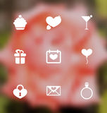 Trendy flat icons for Valentines Day, blurred layout Stock Photography