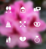 Trendy flat icons for Valentines Day, blurred layout Stock Images