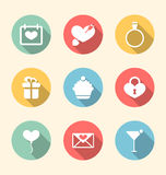 Trendy flat icons for Valentines Day, style with long shadows Stock Photography
