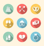 Trendy flat icons for Valentines Day, style with long shadows Royalty Free Stock Image