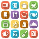 Trendy flat kitchen and cooking icons. Vector Stock Photography