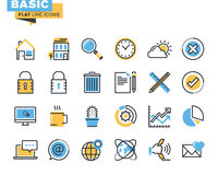Trendy flat line icon pack for designers and developers Royalty Free Stock Photos