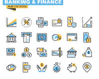 Trendy flat line icon pack for designers and developers. Flat line icons for banking, finance, online payment, m-banking, savings, internet payment security, for Stock Images