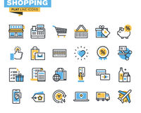 Trendy flat line icon pack for designers and developers Stock Images