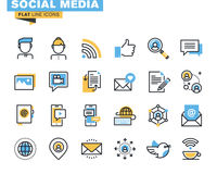 Trendy flat line icon pack for designers and developers Stock Photo