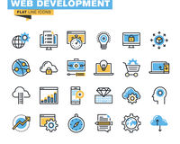 Trendy flat line icon pack for designers and developers Royalty Free Stock Images