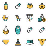 Trendy flat line icon pack for designers and developers. Vector line baby icon set Stock Images
