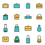 Trendy flat line icon pack for designers and developers. Vector line bag icon set Stock Photo