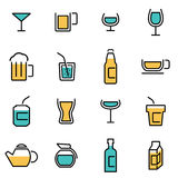 Trendy flat line icon pack for designers and developers. Vector line beverages icon set Stock Image