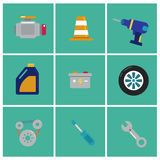 Trendy flat Mechanic icons. Set of machinist icons. Motorman elements for info graphic. Vector illustration.  Royalty Free Stock Images