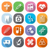 Trendy flat medical icons with shadow. Vector Stock Photos