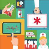 Trendy flat medical icons with shadow. Vector elements Royalty Free Stock Image