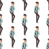 Trendy flat men with phone gadgets seamless pattern group characters using hi tech technology vector illustration. Stock Photo