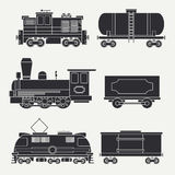 Trendy Flat Modern And Vintage Trains With Cargo Wagons And Tank Icons Set. Steam, Diesel And Electric Locomotives Royalty Free Stock Images