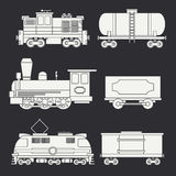 Trendy flat modern and vintage trains with cargo wagons and tank icons set. Steam, diesel and electric locomotives Stock Photos