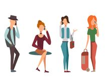 Trendy flat people with phone gadgets group characters using hi tech technology vector illustration. Stock Photo