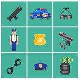 Trendy flat Policeman icons. Set of Policeman icons. Policeman elements for info graphic. Vector illustration.  Stock Photography
