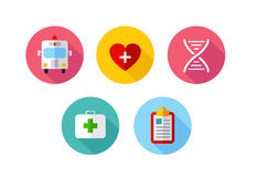 Trendy Flat science icons. Vector illustration. Flat style with long shadows, health care and medicine illustrations icons set Royalty Free Stock Photo