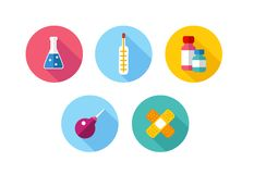 Trendy Flat science icons. Vector illustration. Flat style with long shadows, health care and medicine illustrations icons set Royalty Free Stock Photography