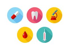 Trendy Flat science icons. Vector illustration. Flat style with long shadows, health care and medicine illustrations icons set Stock Image