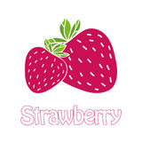 Trendy flat strawberry logo. Trendy strawberry logo. Text and illustration in flat design. Can be used as logotype for your business/design project or for Royalty Free Stock Image