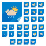 Trendy Flat Weather Icon Set With Long Shadow. Vector Stock Photos