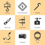 Trendy flat working tools icons black silhouettes Stock Photos