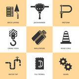 Trendy flat working tools icons black silhouettes Royalty Free Stock Photos