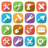 Trendy flat working tools icons. Vector Royalty Free Stock Photos