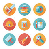 Trendy flat working tools icons. Stock Images