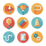 Trendy flat working tools icons. Stock Photography