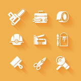 Trendy flat working tools icons white silhouettes Royalty Free Stock Photography