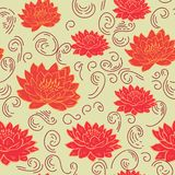 Trendy floral background with lotus flower in hand drawn style. Blooming botanical motifs scattered random. Vector seamless stock illustration