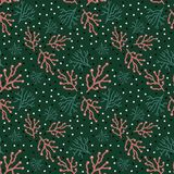 Trendy  floral pattern in doodle style with branches on green backdrop vector illustration