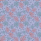 Trendy  floral pattern in doodle style with branches on light blue backdrop royalty free illustration