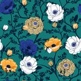 Trendy Floral pattern in the many kind of flowers. Botanical M. Trendy blooming Floral pattern in the many kind of flowers. Botanical Motifs scattered random stock illustration