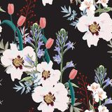 Trendy Floral pattern with the many kind of flowers. Tropical botanical Motives. Seamless vector texture. Printing in hand drawn style on the black background vector illustration