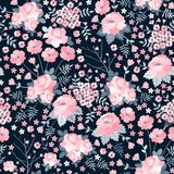 Trendy floral seamless pattern in vector. Cute pink flowers on dark background.  royalty free illustration