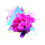 Trendy flower art for women's T-shirts with peony Royalty Free Stock Images