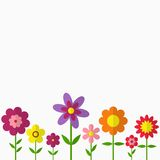 Trendy Flower Set in flat dasing style isolated on grey background. Colorful floral icons. Vector Illustration Stock Images