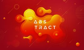 Trendy Fluid, liquid gradient design elements. Abstract orange, red liquid background vector illustration