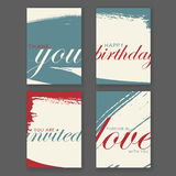 Trendy freehand love cards Royalty Free Stock Photography