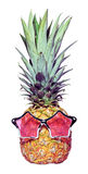 Trendy funny pineapple Royalty Free Stock Photo