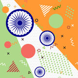 Trendy geometric elements memphis cards for Independence day of India Stock Image