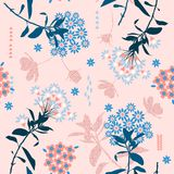 Trendy geometric flower in pastel color mix with garden leaf ,c vector illustration