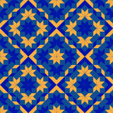 Trendy geometric seamless pattern with different shapes of blue and orange shades Stock Image