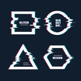 Trendy geometric shapes with glitch distortion effect. Border frames with video glitch lines vector set. Frame effect glitch, digital geometric distortion and Royalty Free Stock Image