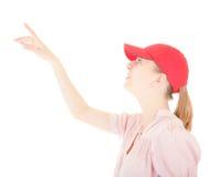 Trendy girl with baseball cap. Portrait of positive careless girl on white Stock Photo